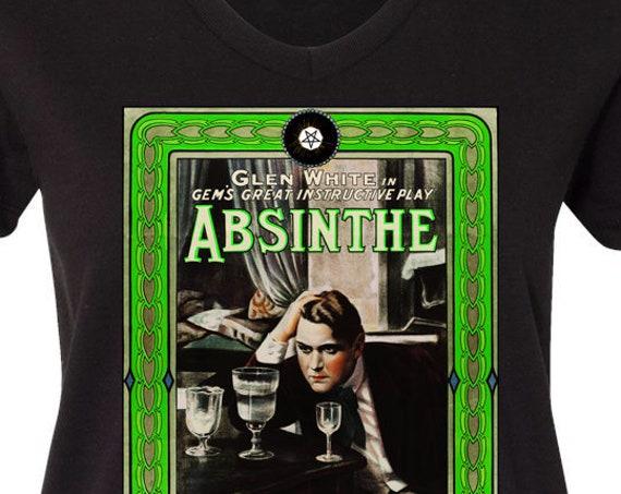 Absinthe Women's V Neck 100% Cotton Tee Shirt