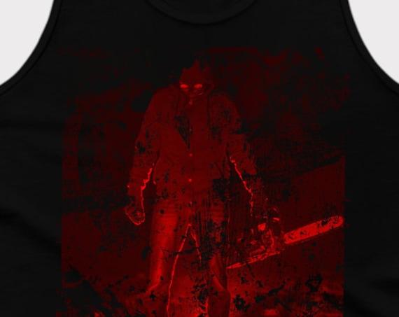 Chainsaw - blood splatter horror - Satanic Tank Top