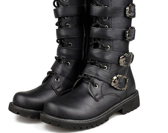 Men's Buckle Goth Boots