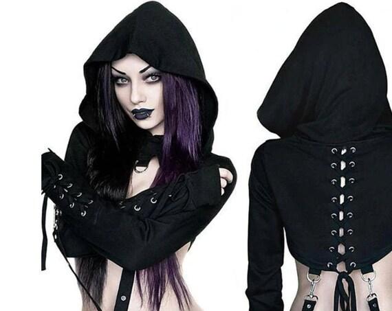 Women's Croptop Gothic Hoodie