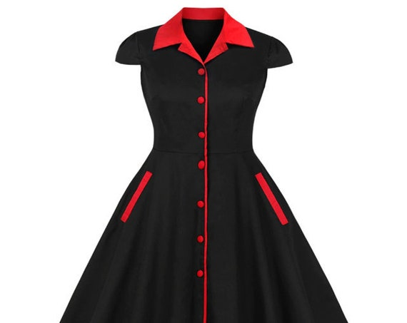 Vintage Style Red & Black - Plus Size Dresses
