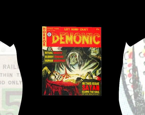 Demonic - Satanic Comic Book Cover - Women's V Neck Tee