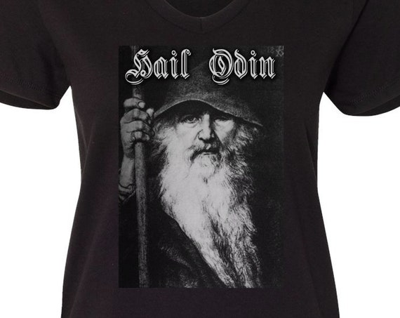 Hail Odin - Norse Pagan Viking - Ladies V Neck T-Shirt