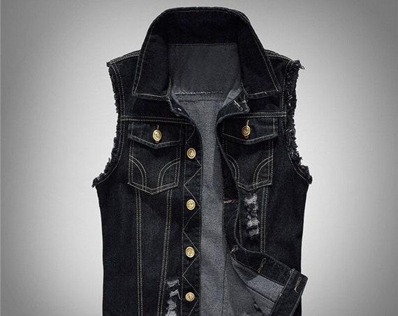 Men's Distressed Black Battle Vest