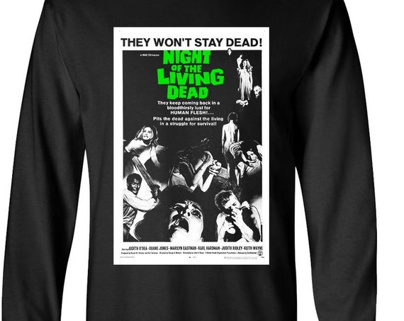Night of the Living Dead - classic zombie horror poster Long Sleeve Shirt