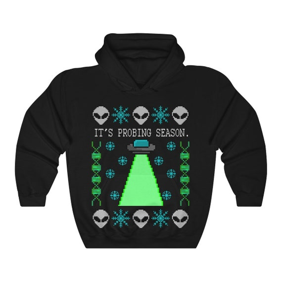 Probing Season Hoodie UFO Alien Ugly Christmas Sweater Unisex Heavy Blend Hooded Sweatshirt