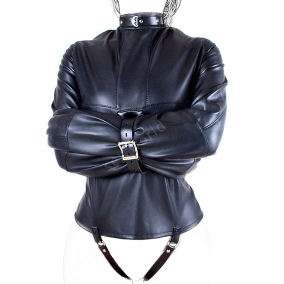Faux Leather Straight Jacket