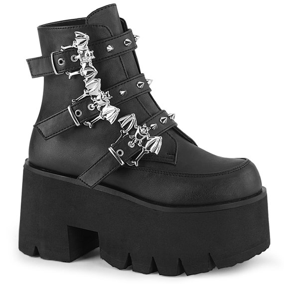 Demonia -  Studded Bat Buckle Boots - ASHES-55