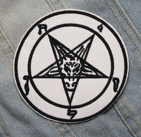 Baphomet White Satanic Patch