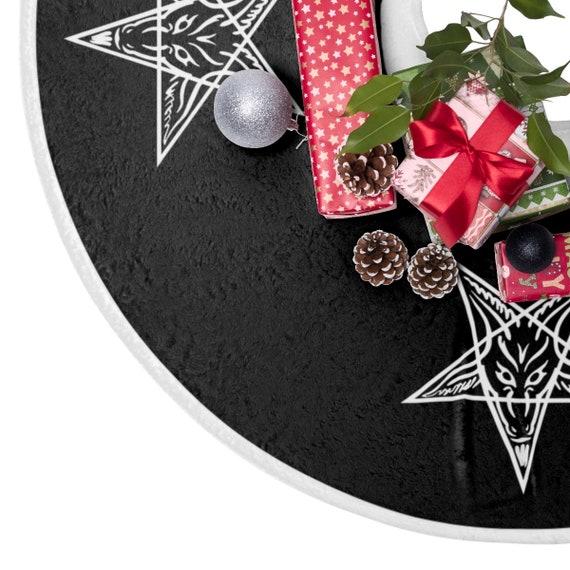 Baphomet Black Christmas Tree Skirt