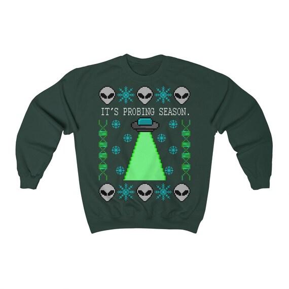 Probing Season Ufo Alien Ugly Christmas Sweater Unisex Heavy Blend Crewneck Sweatshirt