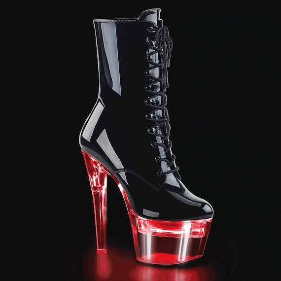 "Pleaser - FLASHDANCE Gloss Black - Light Up 7"" Heels"