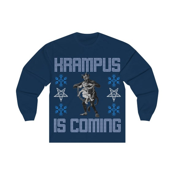 Krampus Is Coming Long Sleeve Tee Ugly Christmas Sweater Style
