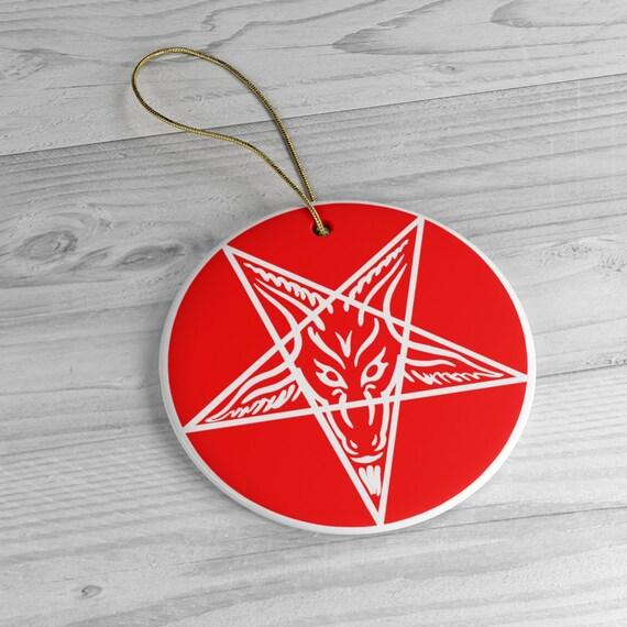 Sigil of Baphomet Red Ceramic Ornaments