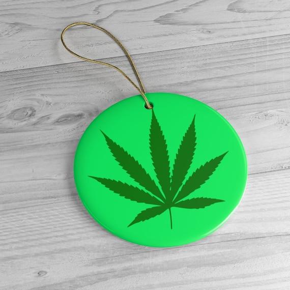 420 Leaf Ceramic Ornament