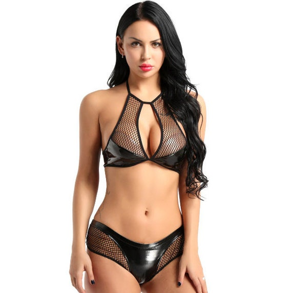 2 pc Faux Leather Fishnet Top and Bottoms
