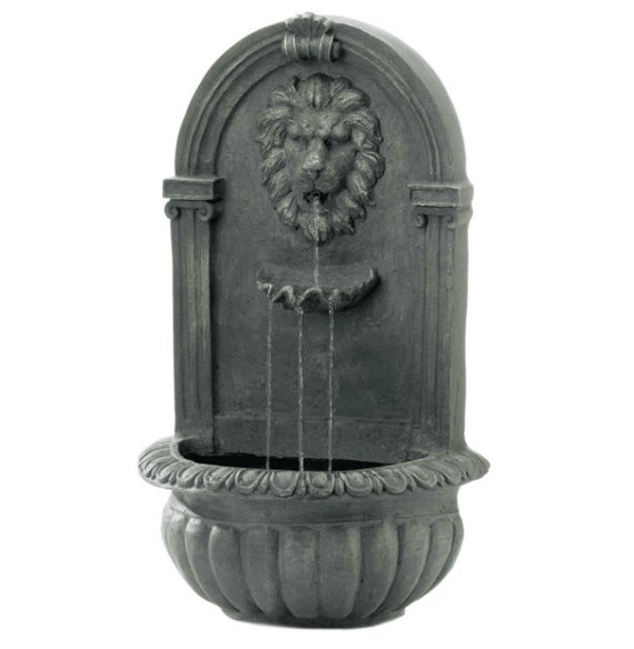 """30"""" Mossy Green Lion Wall Fountain"""