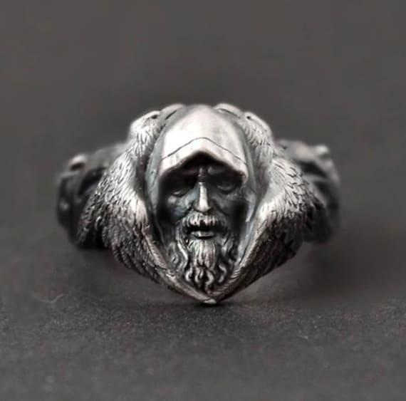 Odin, Huginn, Muninn, Geri & Freki Norse Pagan Viking Ring