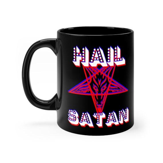 Retro Hail Satan black coffee mug 11oz