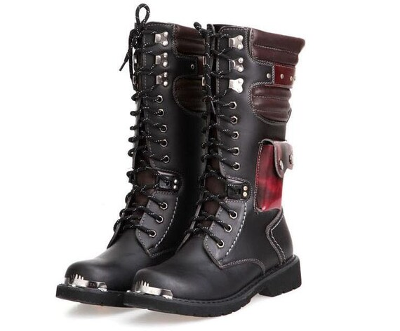 Black & Crimson Men's Boots with Stash Pocket