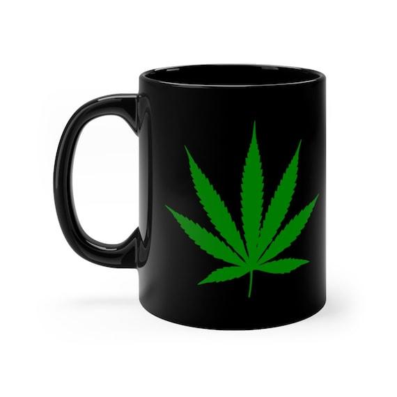 Cannabis Leaf black coffee mug 11oz