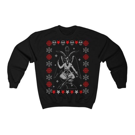 Baphomet Ugly Christmas Sweater Unisex Heavy Blend Crewneck Sweatshirt