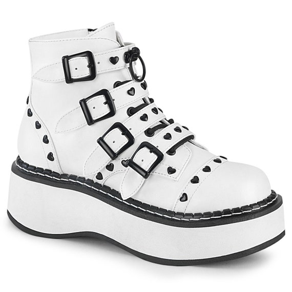 "Demonia - Emily 315 - White Vegan Leather 2"" Platform"