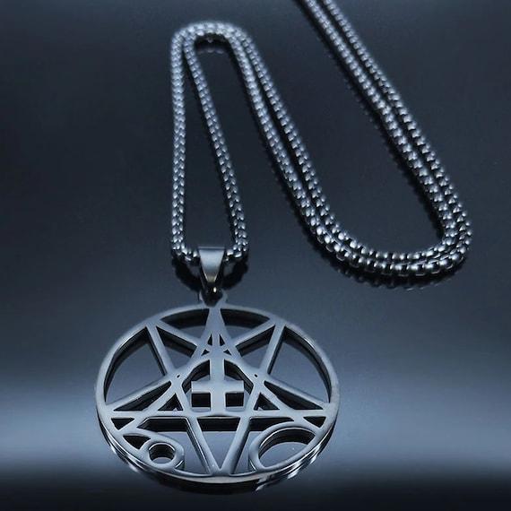 Pentagram Inverted Cross Stainless Steel Laser Cut Pendant