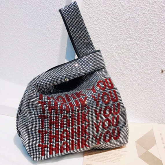 Thank You Rhinestone Handbag Purse