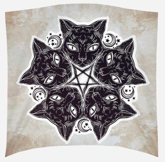 Satanic Cat Wall Tapestry
