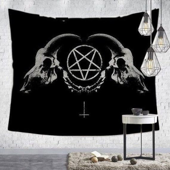 Pentagram & Skulls Wall Tapestry