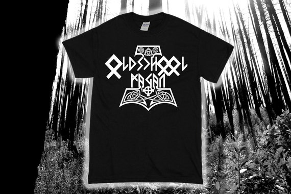 Oldschool Pagan - Rune Stone and Thor's Hammer Viking Shirt - Asatru - Norse - Celtic