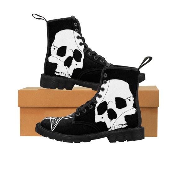 Skulls And Stars Women's Martin Boots with Sigil of Baphomet