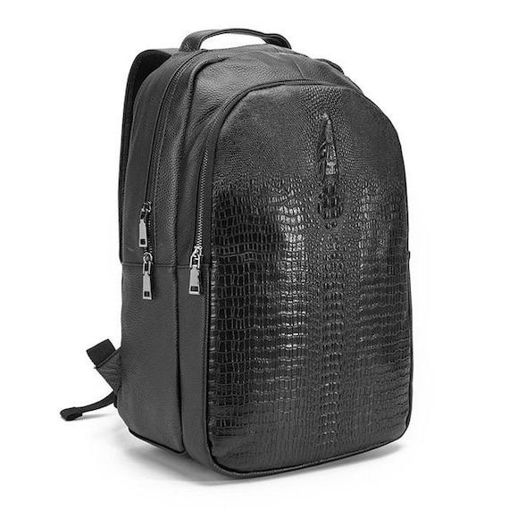 Gator Stamped Backpack - Genuine Leather