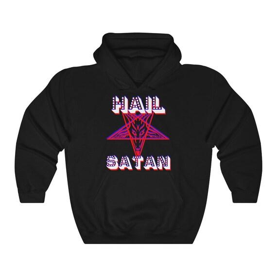 Retro Hail Satan Heavy Blend Hooded Sweatshirt