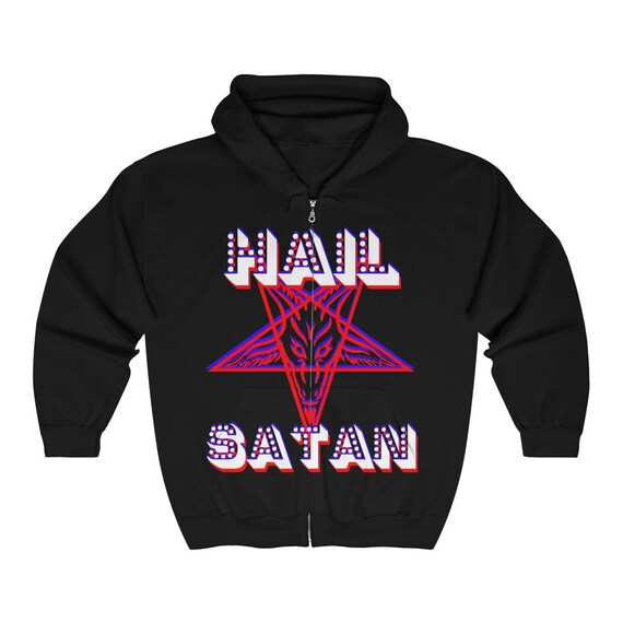 Retro Hail Satan Full Zip Hooded Sweatshirt
