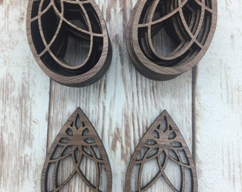 Finished Walnut Blank DIY Jewelry Making Wood Drop Lace Earring Blanks