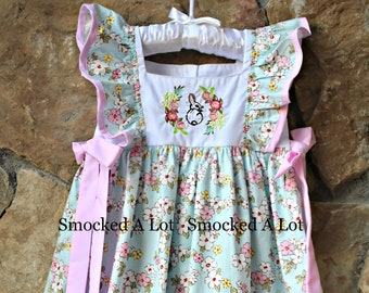 Girls Easter Dress- Bunny. Floral Pink Purple lace. by Smocked A Lot Church  Christ Outfit Cross cc1d9e055165