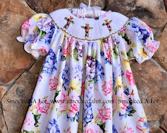 Smocked A Lot Girls Easter Dress Blue Blossoms Floral Lace Collar Church Classic