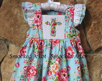 b62023afe37 Girls Smocked Easter Cross Dress with lace- Amazing Grace floral rose with  smocked crosses Church Christ Outfit
