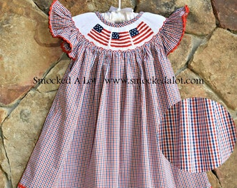 e18ccd61131 Smocked Girls Bishop Dress American Flag July 4th Independence Day Gingham  Red White Blue Outfit Stars and Stripes