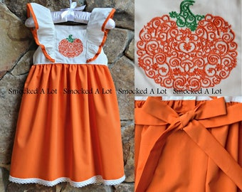 f7d7fd9394ba Girls Pumpkin Harvest dress Thanksgiving Fall orange ruffled sash  embroidered boutique by Smocked A Lot Turkey