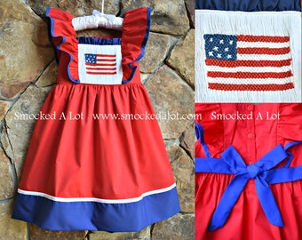 612dcadfbe2 Stars and Stripes RED Smocked Girls Dress July 4th Independence Day  American Flag Red White Blue Outfit bishop