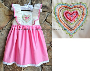 d12e8a556bf Girls Valentine s Day Flutter Dress- Pink Quilt Heart. Embroidered hearts.  tie in back  3 by Smocked A Lot Outfit Bishop