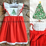 Girls Oh, Christmas Tree dress red white ruffled sash embroidered boutique by Smocked A Lot Santa