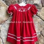 Hand Smocked girls bishop dress Christmas Day Nativity Manger scene red corduroy Christ Jesus