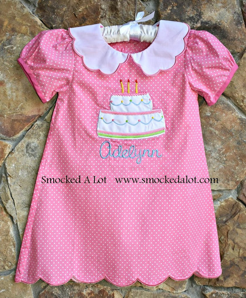 919f614c810 Girls Monogrammed Birthday Dress with scalloped collar pink