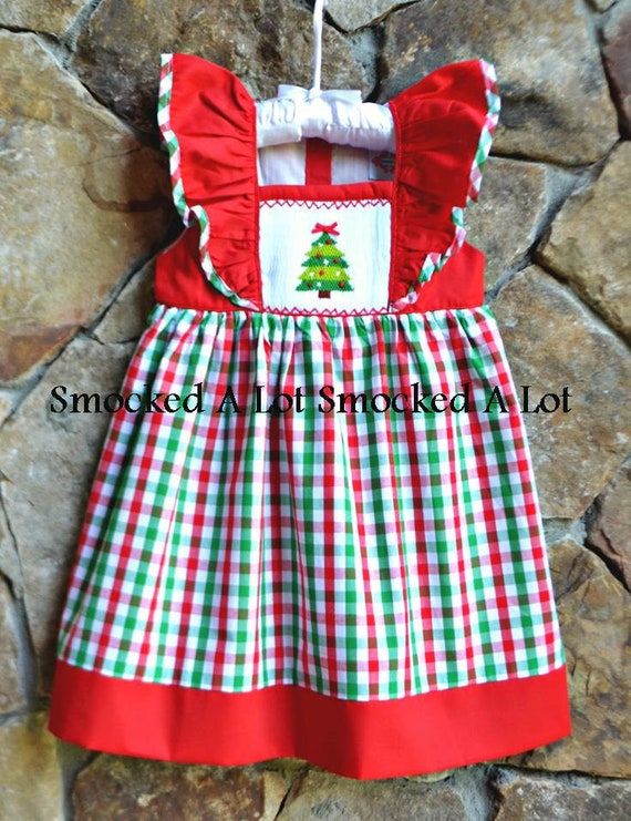 Smocked Christmas Dress.Smocked Girls Dress Christmas Tree Red Green Gingham Plaid Outfit Santa Claus Classic Flutter Sleeves