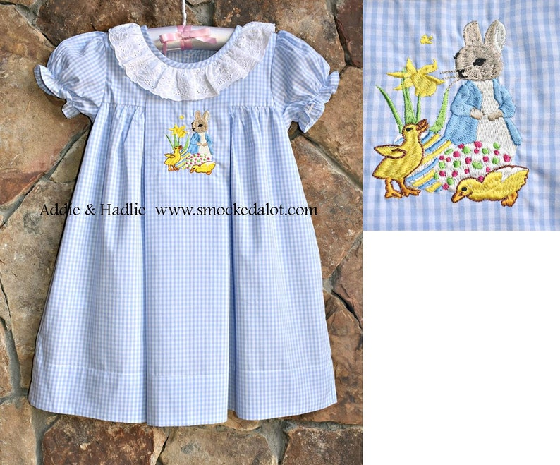 1d4a4cccec938 Girls Easter Dress- Peter Rabbit Easter Bunny Ruffled Dress with lace  collar- light blue gingham. by Smocked A Lot Church Christ Outfit