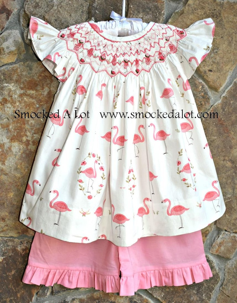 60f618b17a6cc Girls Flamingo Smocked Shorts Set. Coral, floral design. Beach Summer  Pictures. Birthday Party. by Smocked A Lot Outfit Dress Bishop
